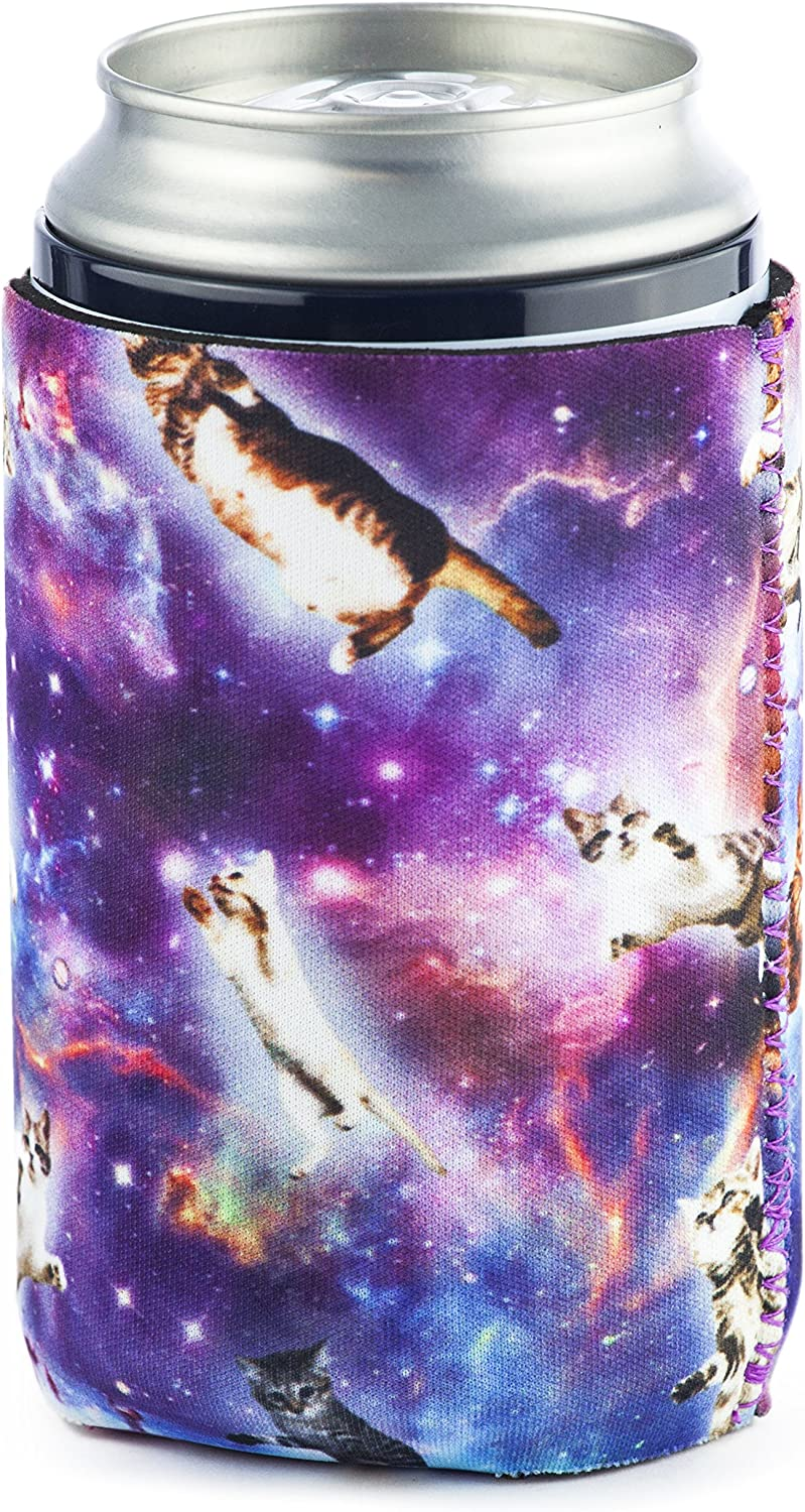 Funny Guy Mugs Floating Space Cat Collapsible Neoprene Can Coolie - Drink Cooler