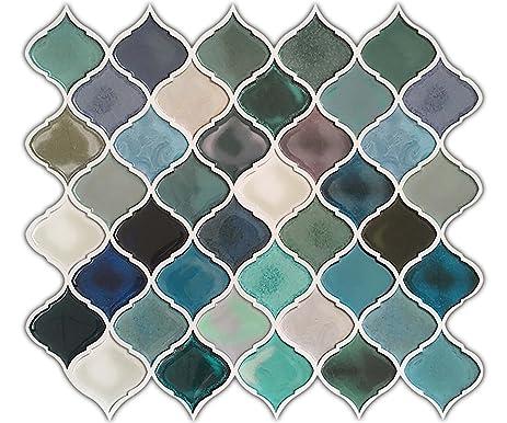 hue decoration turquoise multi peel and stick arabesque tile backsplash