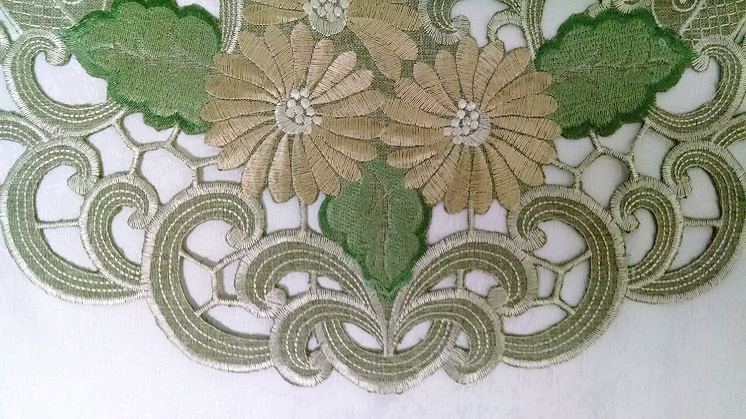 Doily Boutique Round Doily or Place Mat in Venetian Lace and Light Brown Burlap Linen Style Fabric Size 16 inches