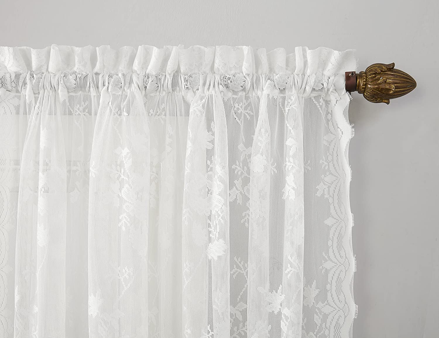 Dove Gray No 918 Alison Floral Lace Sheer Rod Pocket Curtain Panel 58 x 63