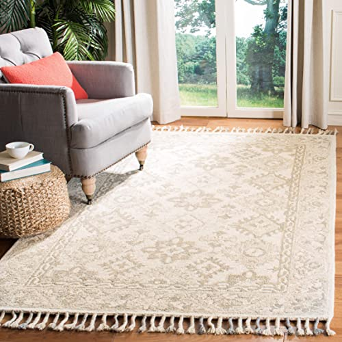 Safavieh Aspen Collection APN120A Handmade Braided Tassel Wool Area Rug, 9 x 12 , Light Grey Grey