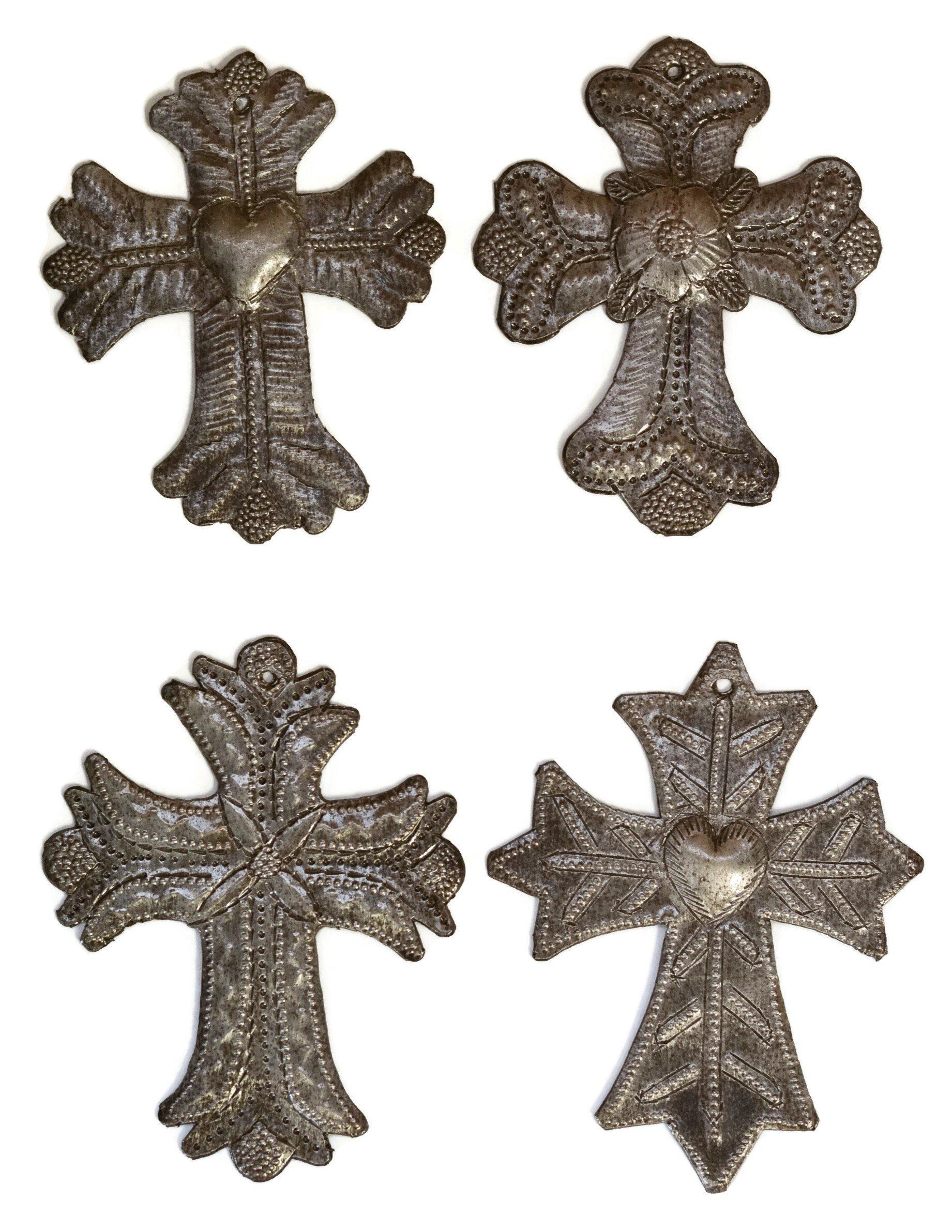 Set of 4 Small Metal Milagro Crosses, Handmade in Haiti, 3 1/2'' X 4 1/2'' by it's cactus - metal art haiti