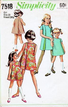 589e07ba7 Simplicity 7518 Vintage 60s de costura para niñas vestido wrap: Amazon.es:  Juguetes y juegos