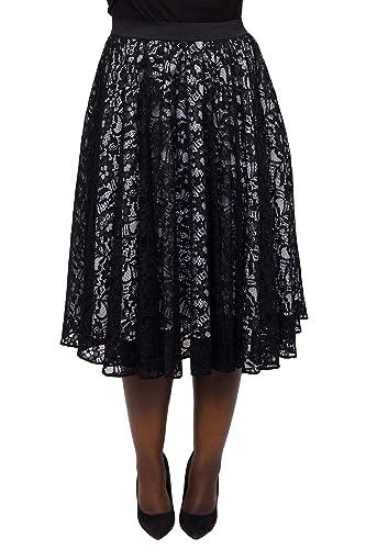 Scarlett & Jo - Falda - para mujer Negro negro / blanco 48