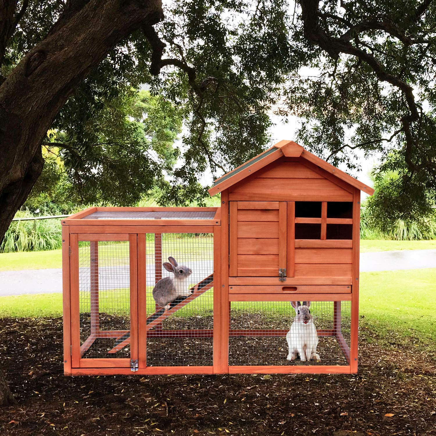Merax Pet Rabbit Hutch Bunny Cage Wooden House Chicken Coops, Orange by Merax