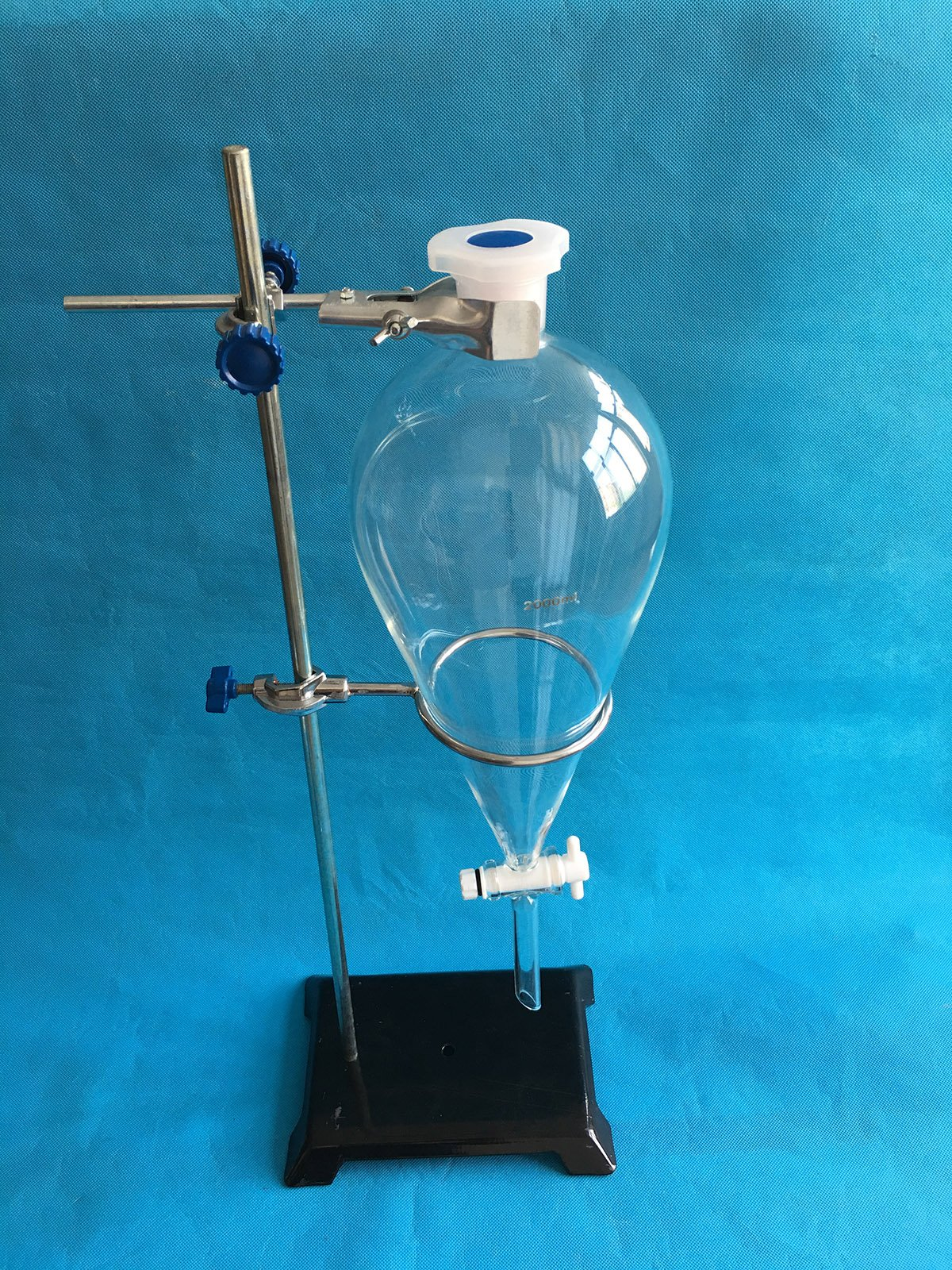 2000ml Glass Separatory Funnel Set, with 4mm PTFE Stopcock and Ring Stand Hardware by Labware