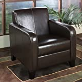 Armen Living 1400 Faux Leather Club Chair, 23x30x32, Brown