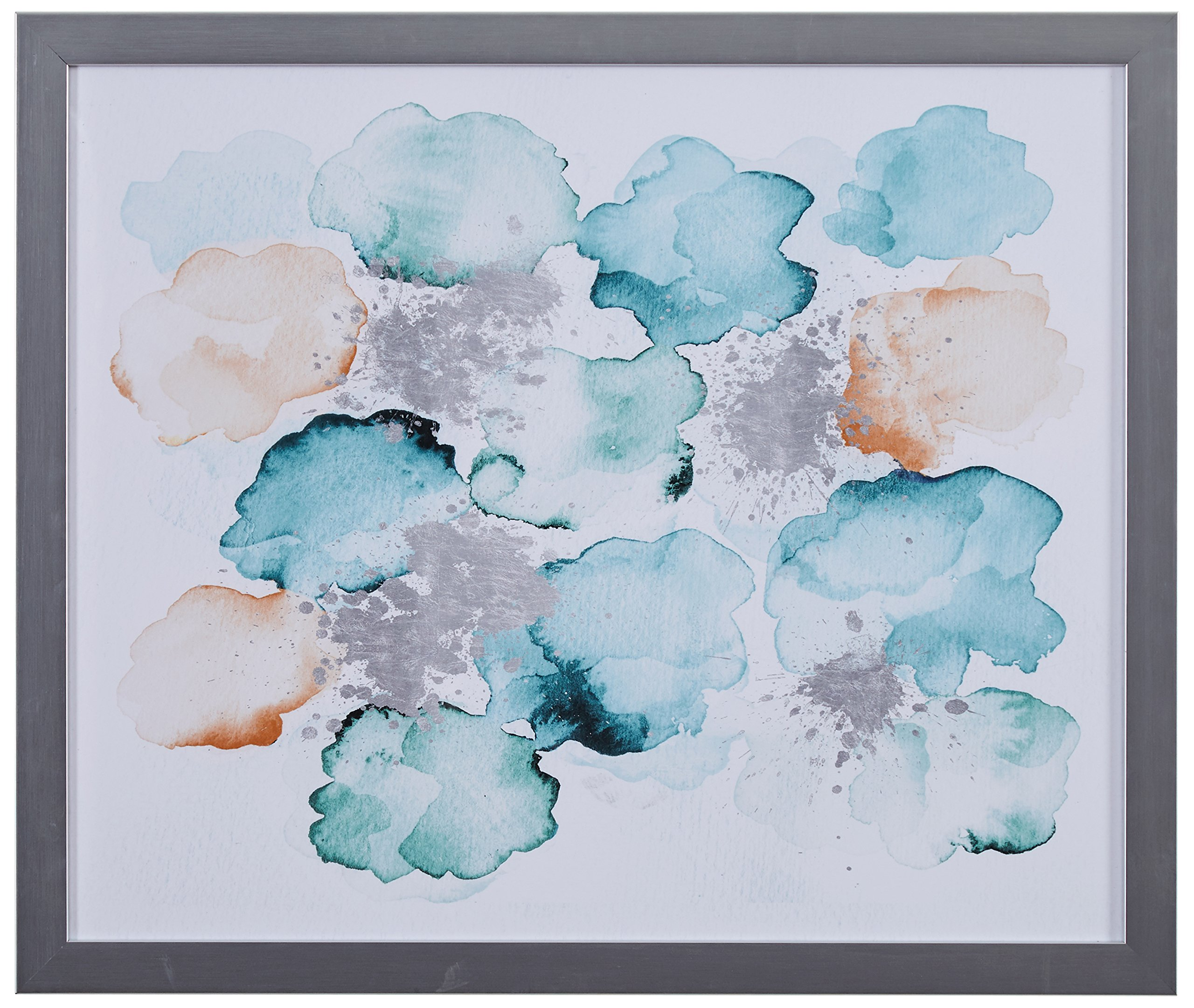 Modern Abstract Turquoise and Tan Print in Silver Colored Frame, 15'' x 18'' by Stone & Beam