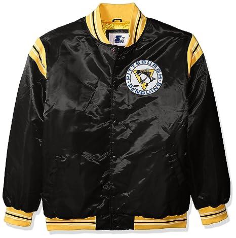 a2dc4b048 STARTER NHL Pittsburgh Penguins Men's The Enforcer Retro Satin Jacket,  Medium, Black
