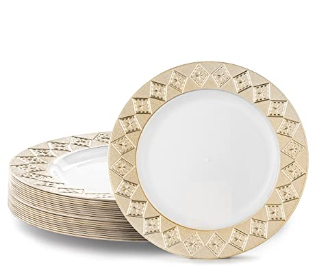 VINTAGE PLASTIC PARTY DISPOSABLE PLATES | 6 Inch Hard Round Wedding Dessert Plates | White with  sc 1 st  Amazon.com & Amazon.com: VINTAGE PLASTIC PARTY DISPOSABLE PLATES | 6 Inch Hard ...