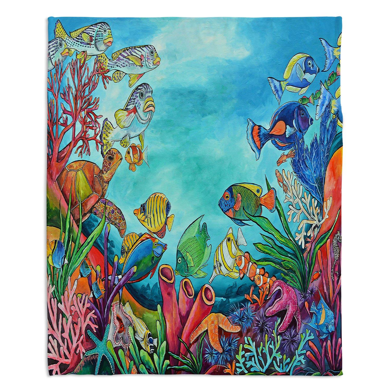 ブランケットウルトラソフトFuzzy 4サイズダイアノウチェデザインズ – Patti Schermerhorn Coral Reefホーム装飾寝室ソファスローブランケット Large 80