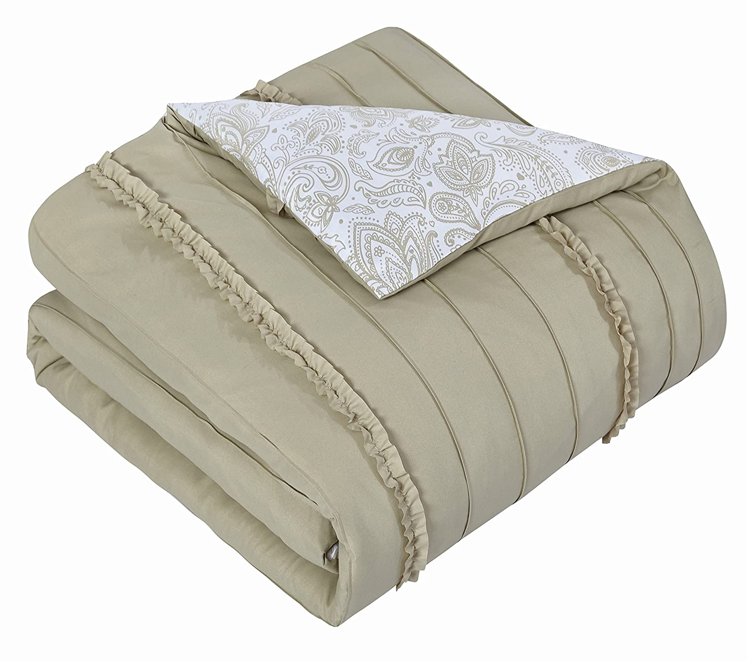 Chic Home 4 Piece Eliza Pleated//Ruffled Reversible Paisley Floral Print Duvet Cover Set Shams//Decorative Pillows King Beige DS2336-AN
