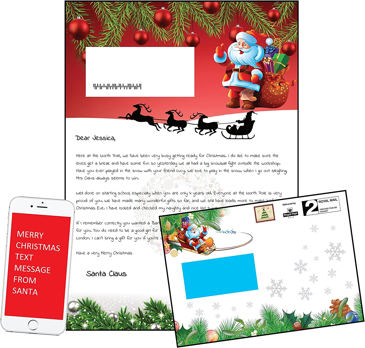 Letter From Santa Personalised In A Festive Christmas Envelope Free Text From Santa Red Design Amazon Co Uk Kitchen Home