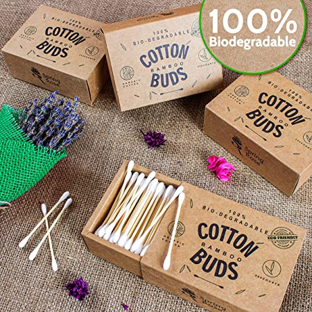 Spring Rose 1400 Bastoncillos de algodón orgánico de bambú ...