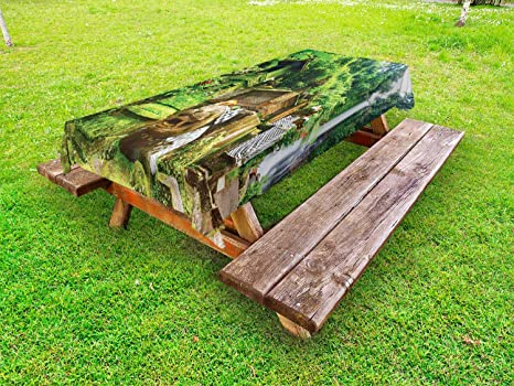 Pleasing Amazon Com Ambesonne Balinese Outdoor Tablecloth Waterfall Caraccident5 Cool Chair Designs And Ideas Caraccident5Info