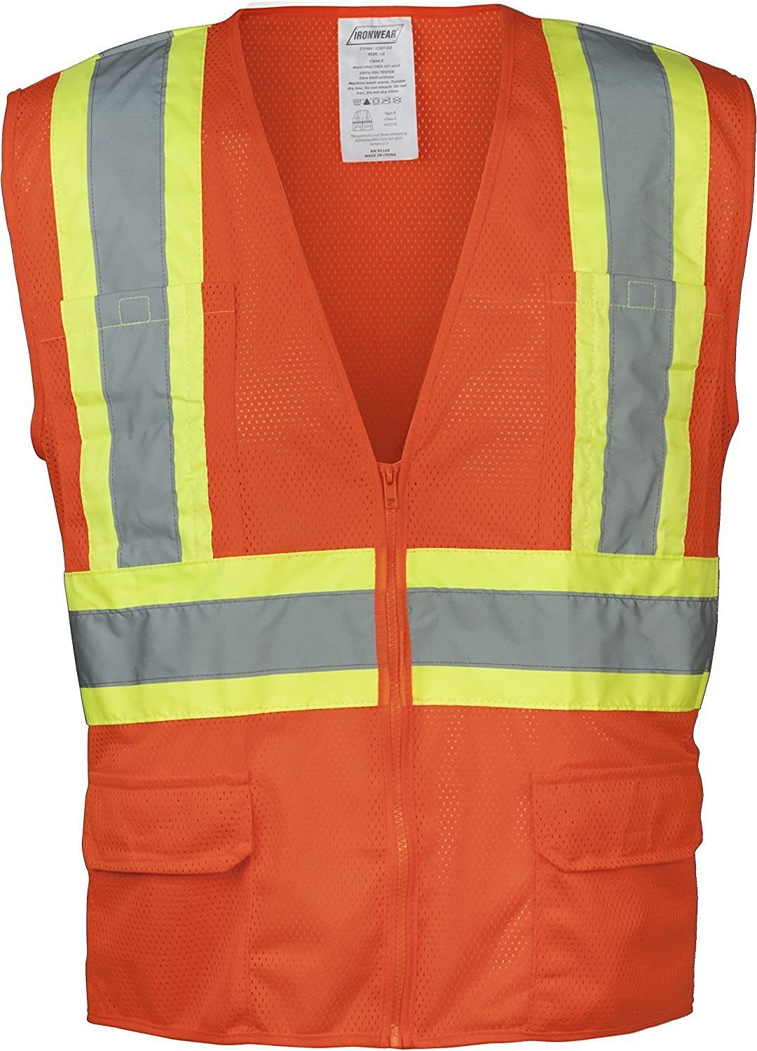 Ironwear 1284FR-L-6-3XLG ANSI Class 2 Flame Retardant Polyester Mesh Safety Vest with 2 Silver Reflective Tape 3X-Large Lime