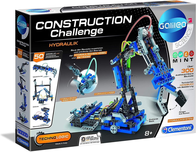 Clementoni- Galileo Construction Challenge - Kit de construcción hidráulica para niños a Partir de 8 años, Color Multicolor. (59132)
