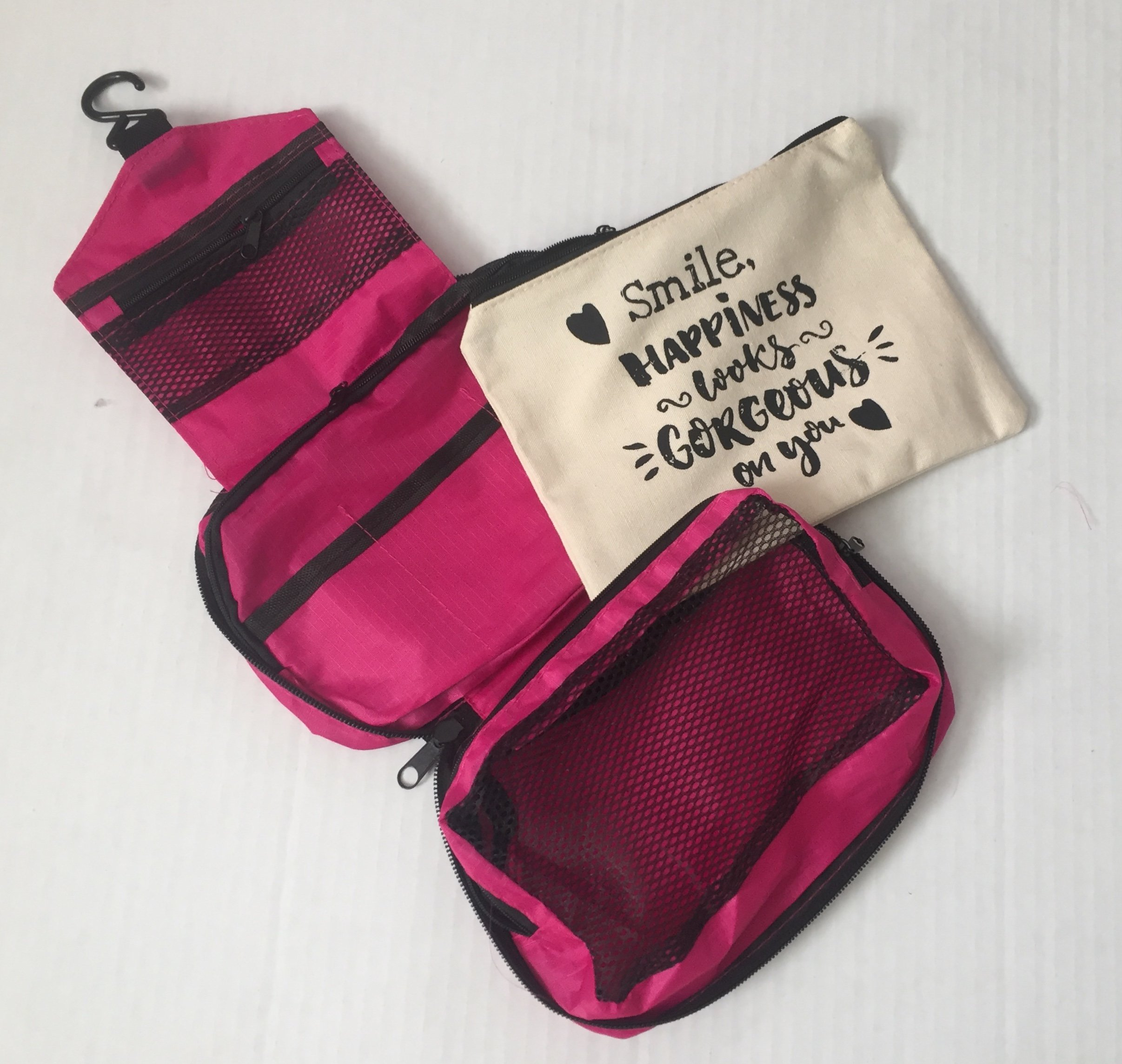 Travel Hanging Toiletries Bag Plus Natural Cotton Canvas Cosmetic Bag With ''Smile! Happiness Looks Gorgeous On You!'' Quote. Set Of 2.
