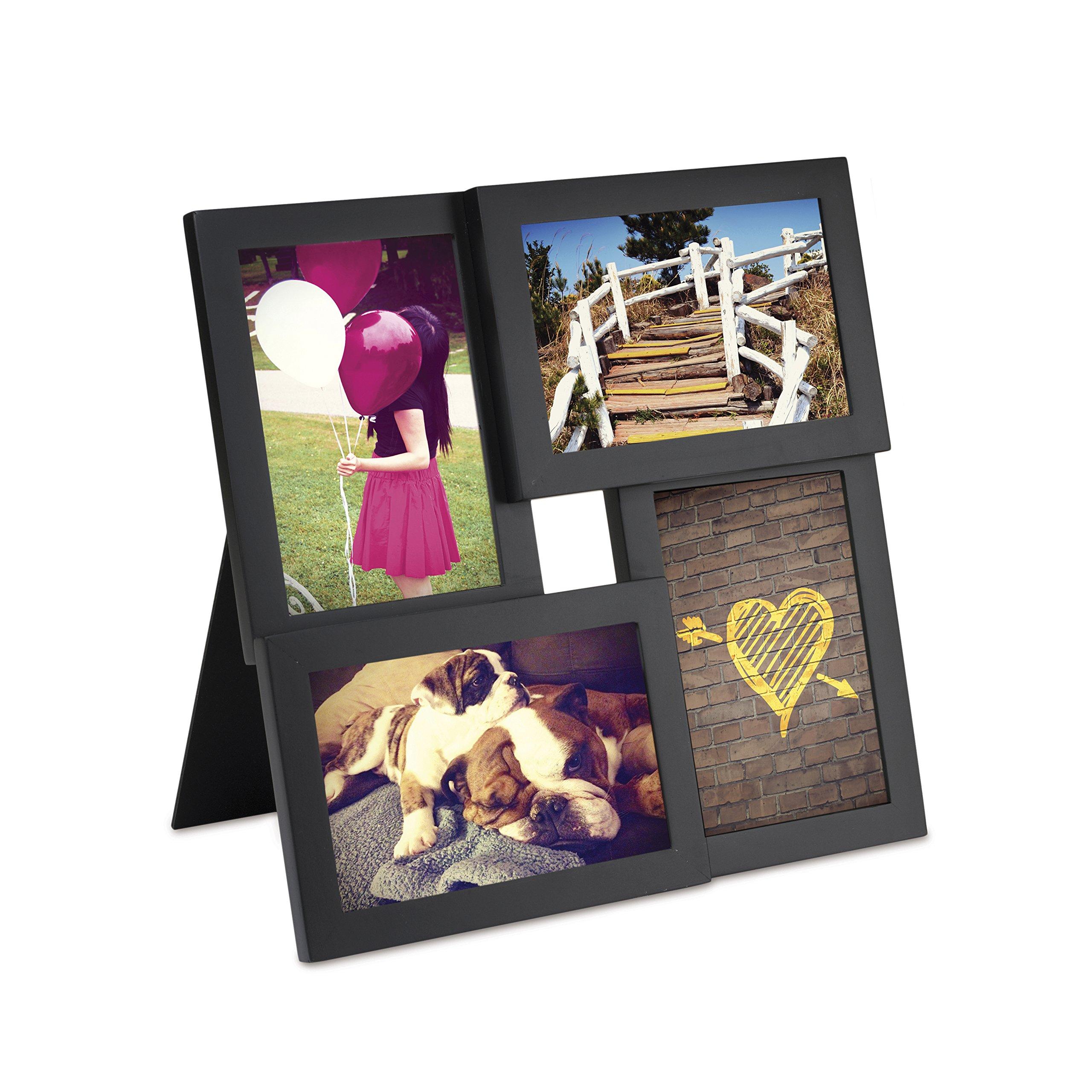 Umbra Pane 4-Opening Desktop Collage Frame, 4x6, Black