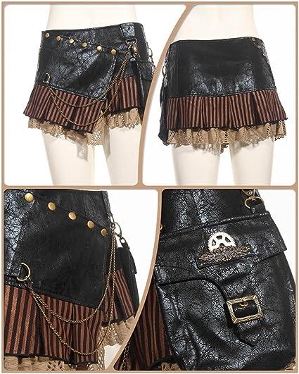 Steampunk VTG Victorian Punk Cincher Lace Up Rivet Pocket Shoolgirl Mini Skirt