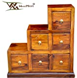 Wood Mount Sheesham Wood Step Cabinet Chest of 6 Drawer for Living Room