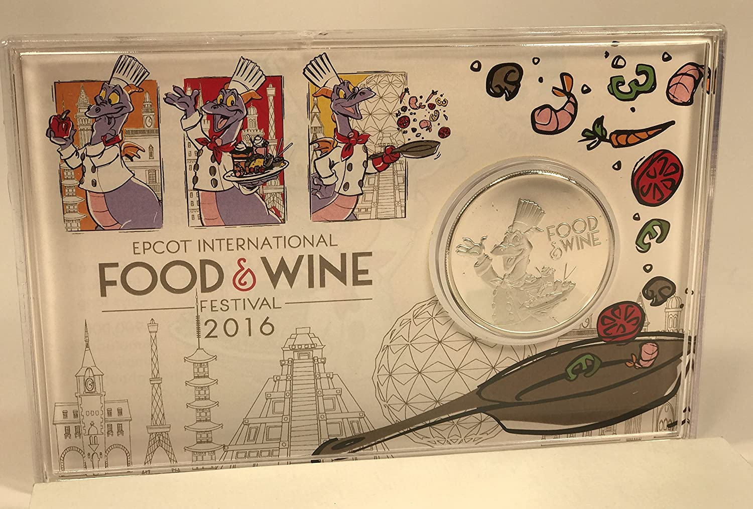 Disney 2016 Epcot Food and Wine Festival Silver Plated Collectible Passholder Coin