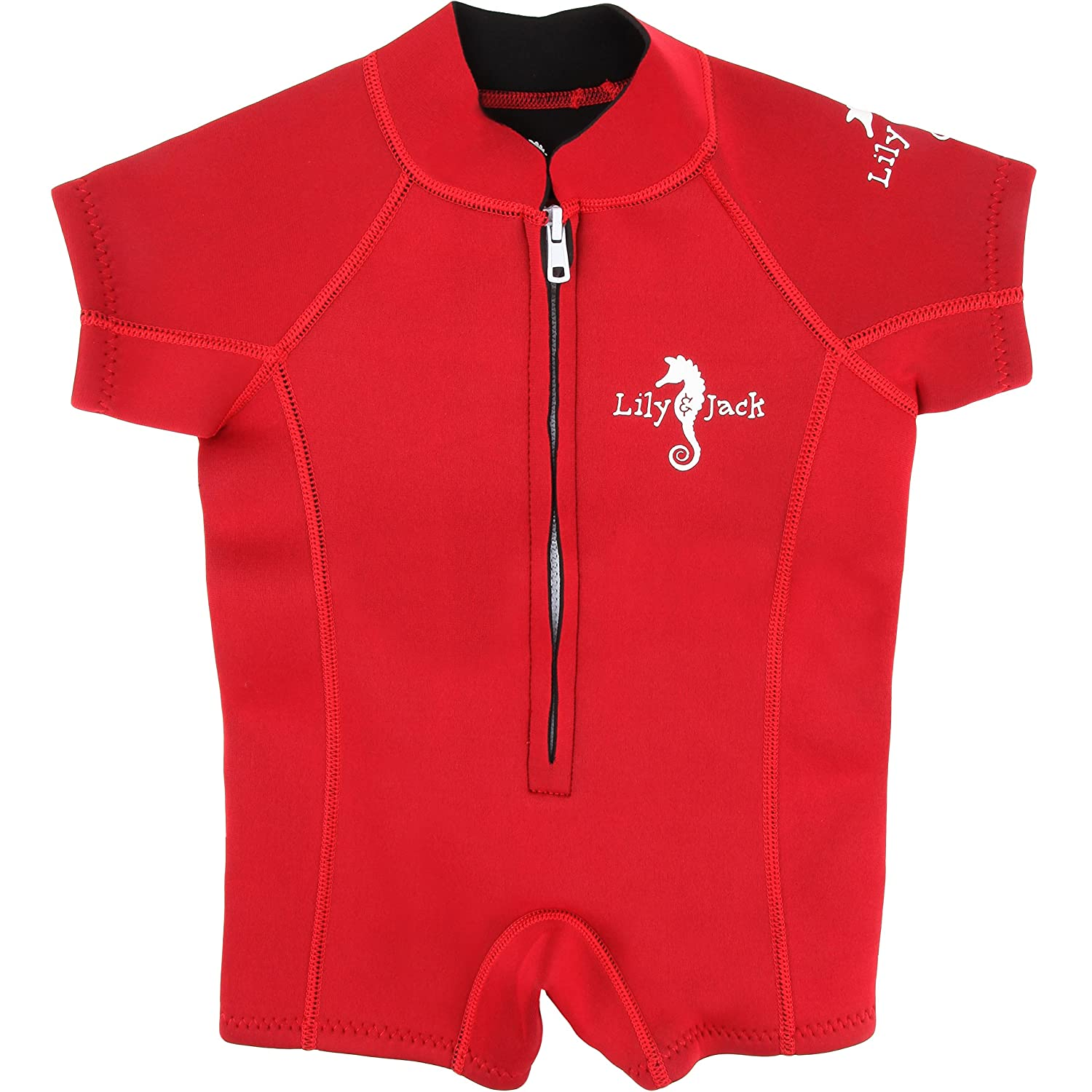 Unisex Baby Neoprene 3mm Wetsuit UV Protected Swimwear for Toddlers (Red)