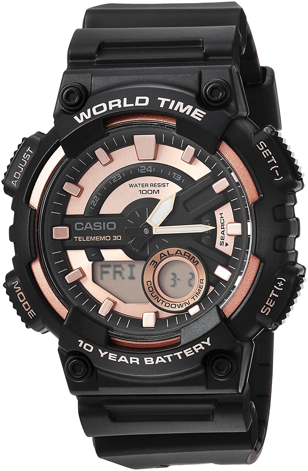 Amazon.com: Casio Mens Telememo Quartz Resin Casual Watch, Color:Black (Model: AEQ-110W-1A3V: Watches