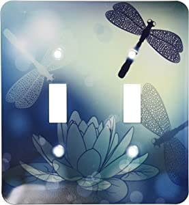 """3dRose lsp_210922_2""""Translucent Shimmering Blue Dragonflies and Double Toggle Switch, Multicolor"""