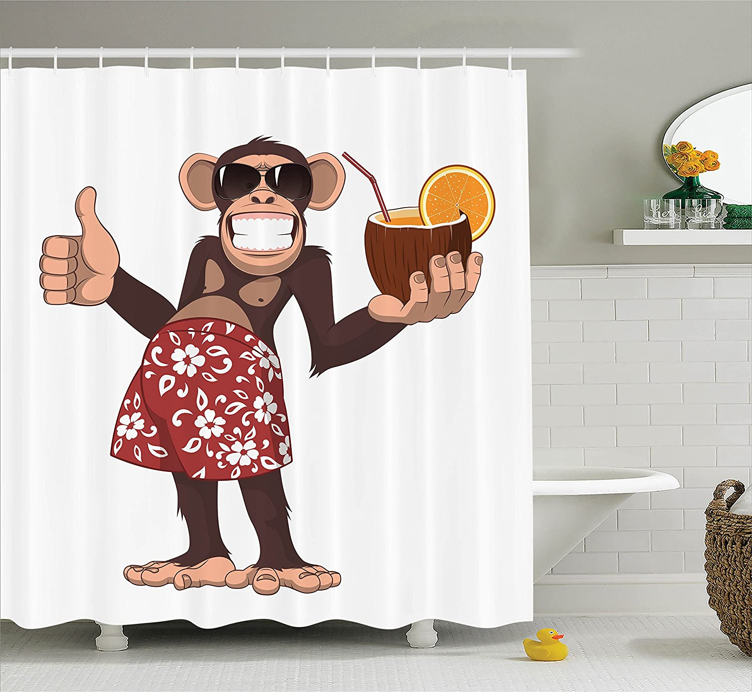 Happy Chimpanzee Holding a Cocktail and Smiling Giggle Ape Cheerful Comic Art Ambesonne Cartoon Decor Collection 75 Inches Long Polyester Fabric Bathroom Shower Curtain Brown Orange Red