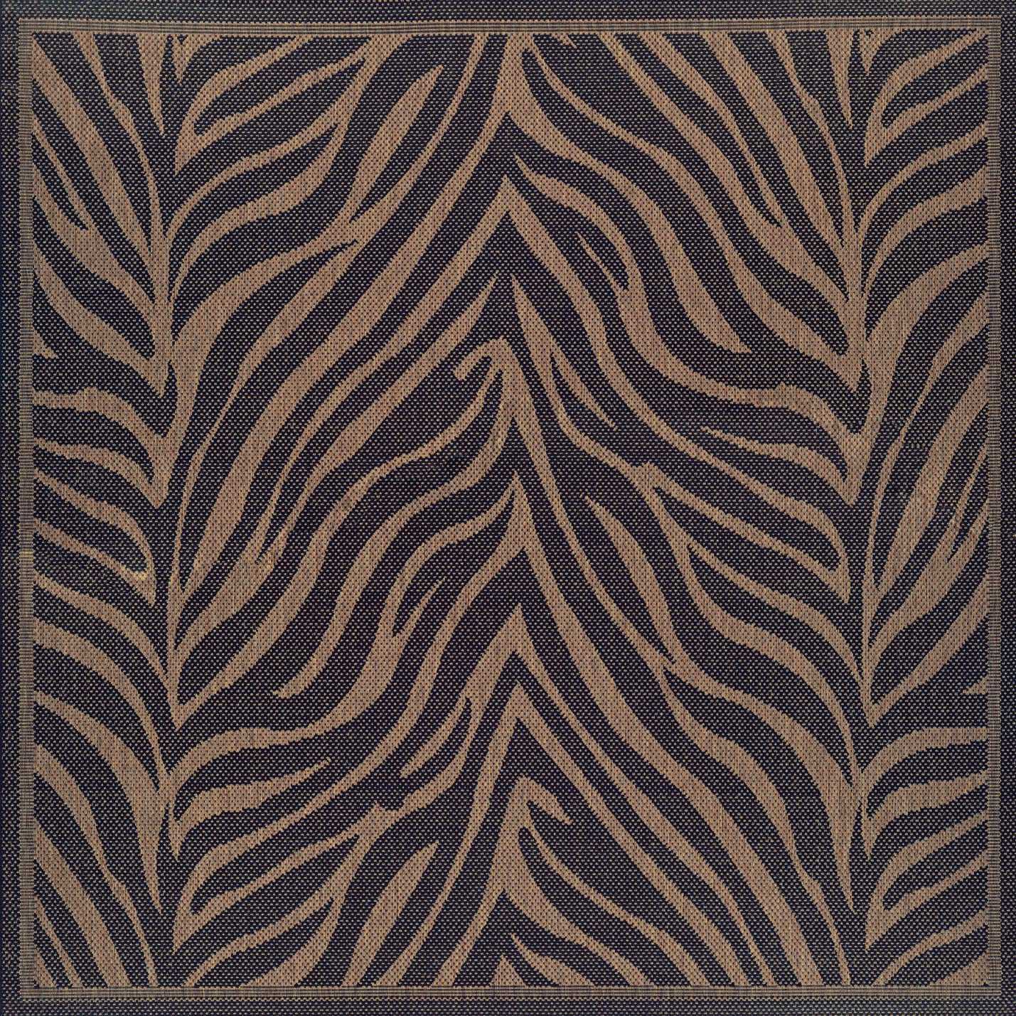 Couristan 1514 0121 Recife Zebra Black Cocoa Rug, 7-Feet 6-Inch Square