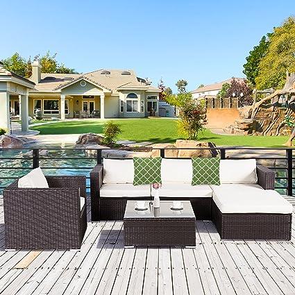 Cloud Mountain 6 Piece Rattan Wicker Furniture Set Outdoor Patio Garden  Sectional Sofa Set Cushions Quatrefoil
