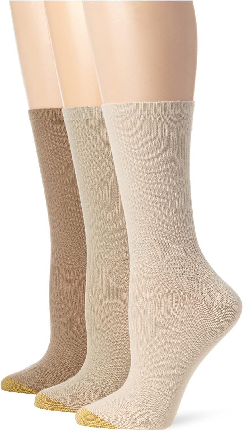 Gold Toe Womens Premium Cotton Non Binding Crew Sock Pack of 3