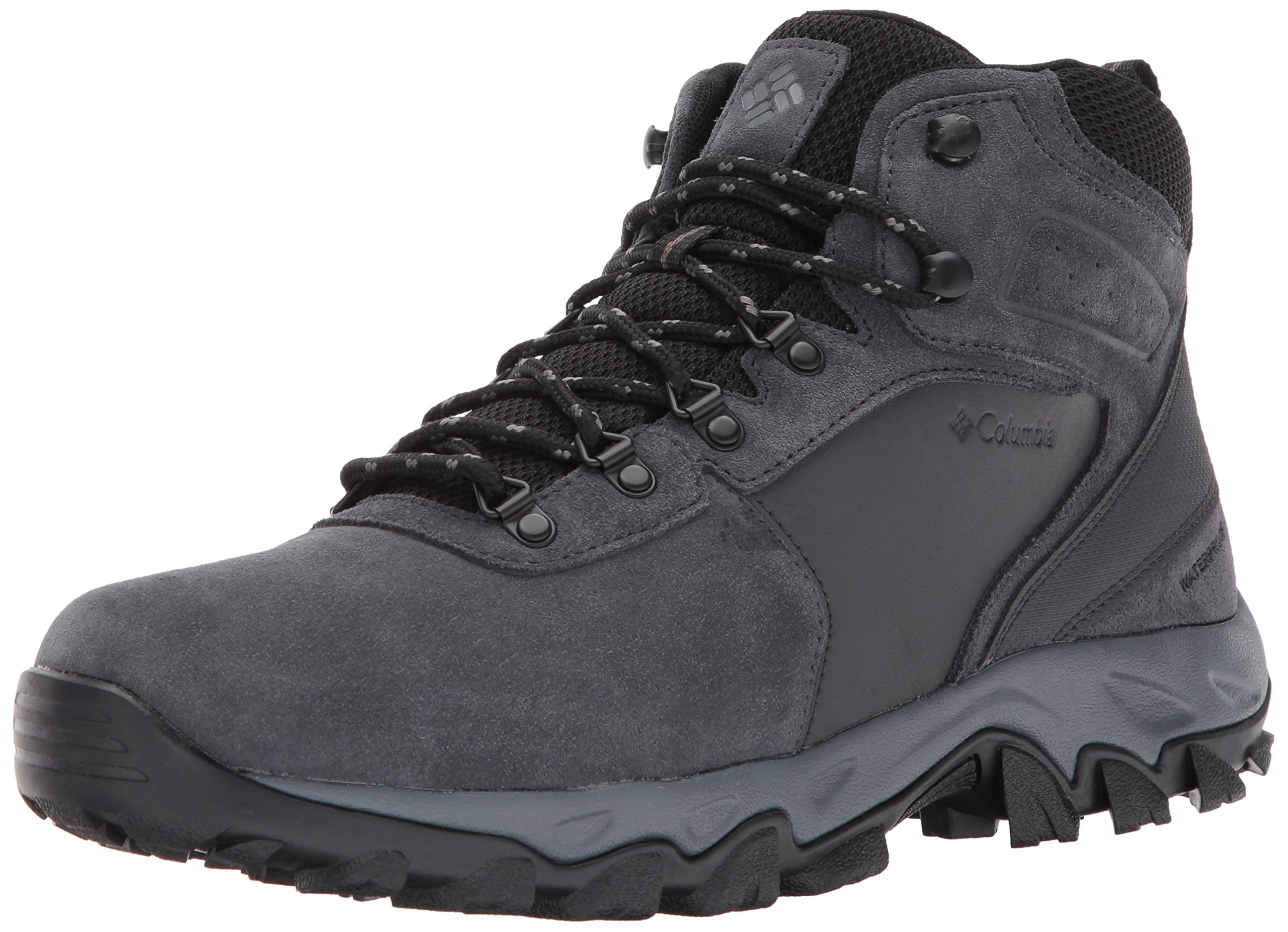 Columbia Men's Newton Ridge Plus II Suede Waterproof Boot, Breathable with High-Traction Grip Hiking, shark, black 7 Regular US
