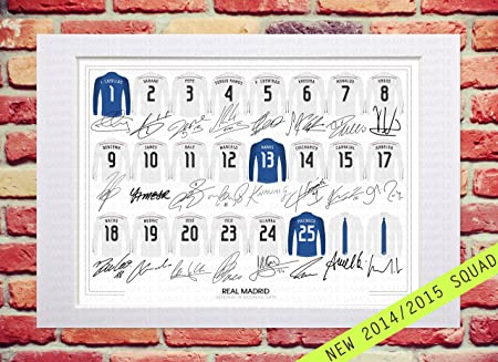 hot sale online d827f 39435 MOUNTED REAL MADRID 2014-2015 SQUAD TEAM PLAYERS NEW SEASON 14/15 SIGNED  AUTOGRAPH WITH PRINTED AUTOGRAPHS PHOTO PRINT PHOTOGRAPH UNIQUE DESIGN ART  ...