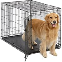 Midwest iCrate Folding Double Door Dog Crate with Deluxe Black Mat