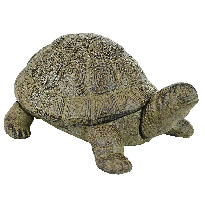 Design Toscano Aesop's Turtle Garden Statue, 10 Inch, Cast Iron, Verdigris