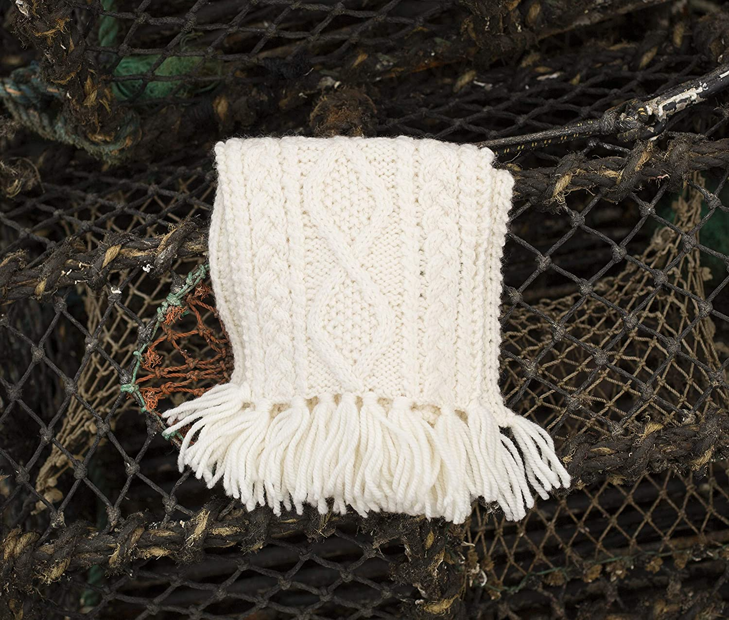 100% Irish Merino Wool Children's Handknit Natural Scarf by Carraig Donn