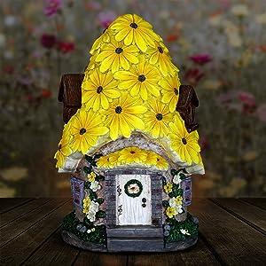 "Exhart Solar Fairy House Statue with Sunflower Roof - Mini Fairy Cottage Resin Statue w/Solar Garden Lights - Sunflower Topped Fairy Hut - Fantasy Garden Home Decor, 9.45"" L x 9.06"" W x 14.96"" H"