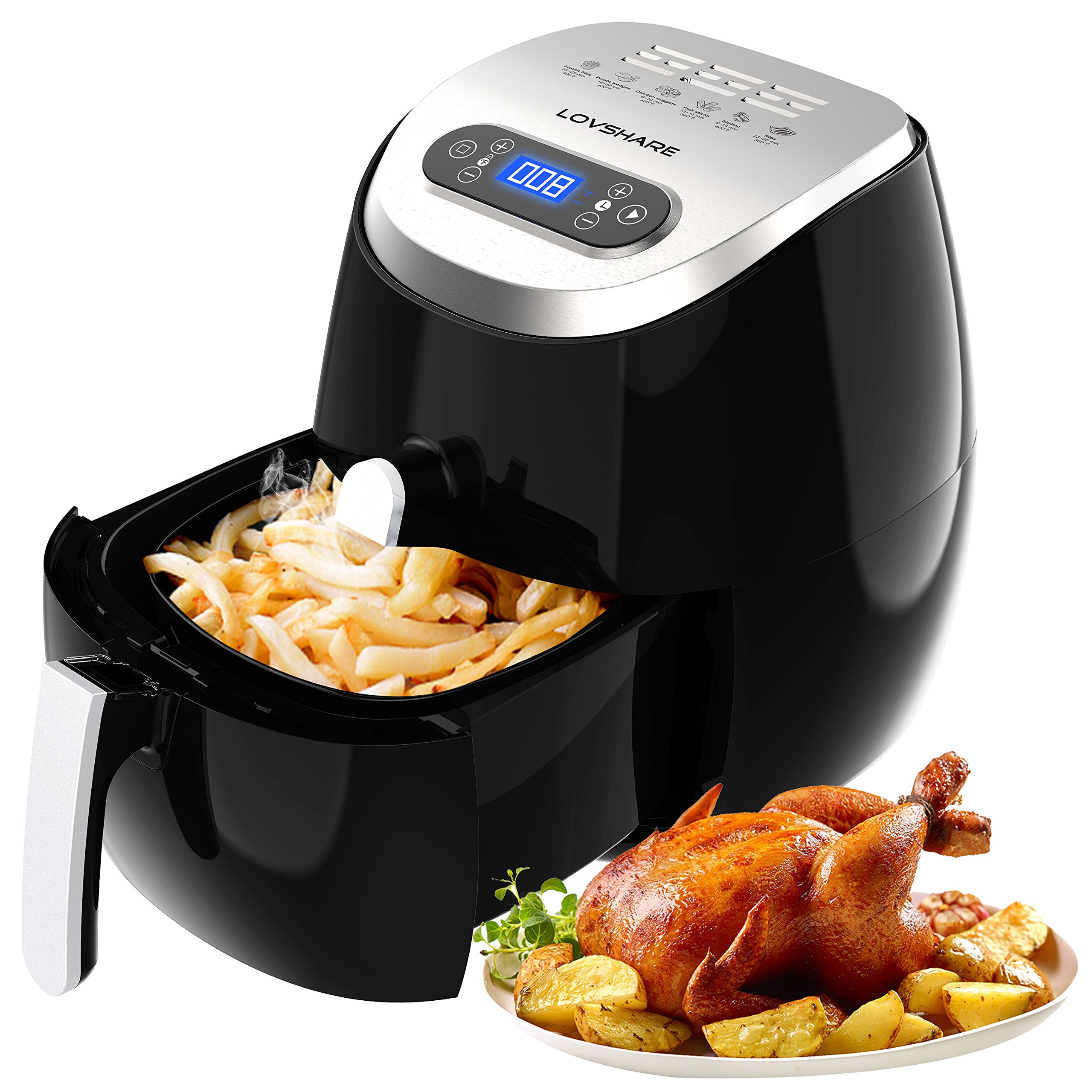 Air Fryer with Touch Screen Control ,LOVSHARE Oil Free Electric Air Fryer for Healthy Fried Food,Comes with Recipe Book,Digital Display with Automatic and Manual Timer & Temperature Controls, 3L