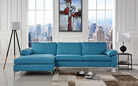 Cool Modern Large Linen Fabric Sectional Sofa L Shape Couch With Extra Wide Chaise Lounge Blue Creativecarmelina Interior Chair Design Creativecarmelinacom