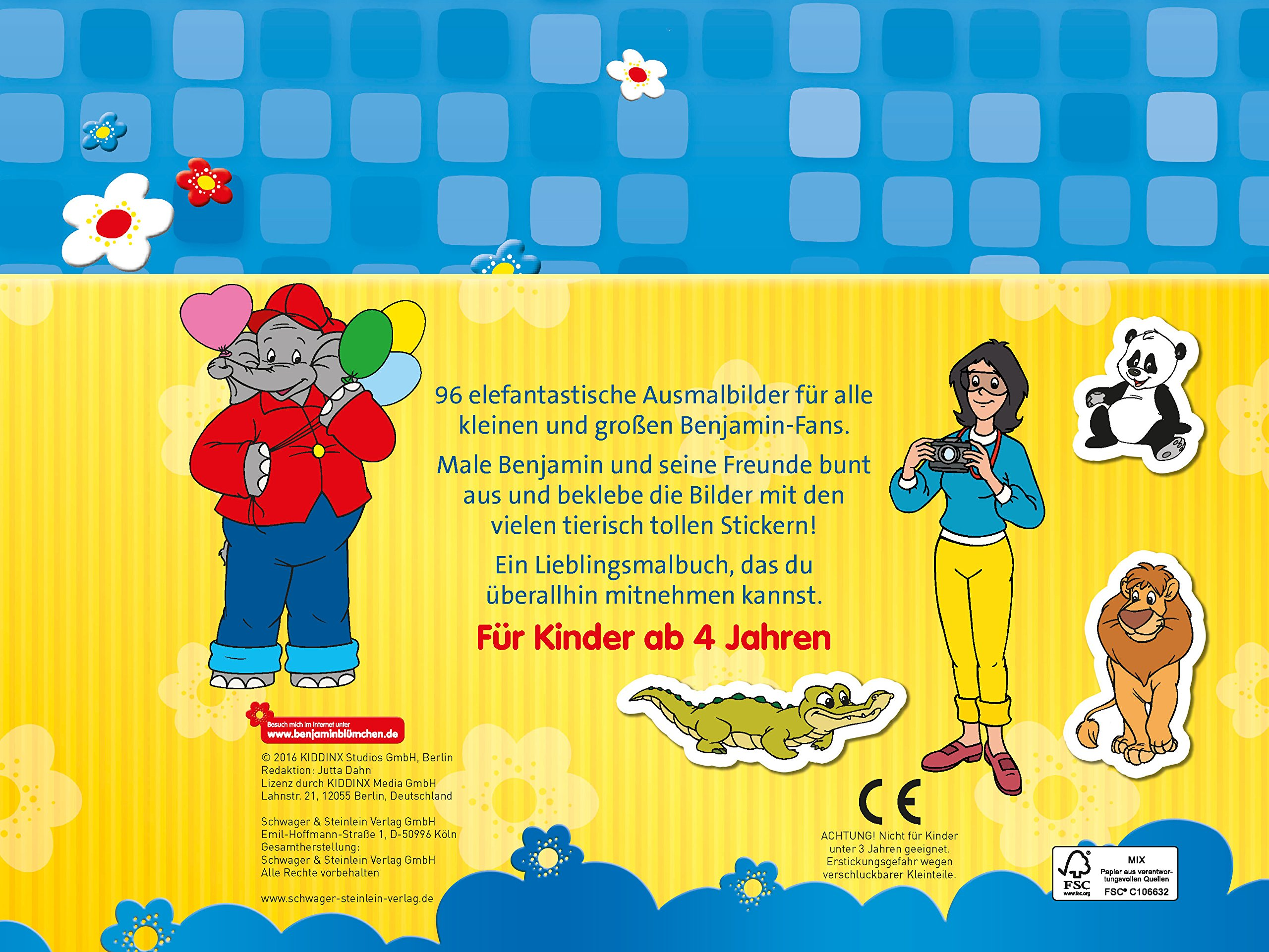 Benjamin Blümchen Mein Malbuch Mit Stickern Amazon De Bücher