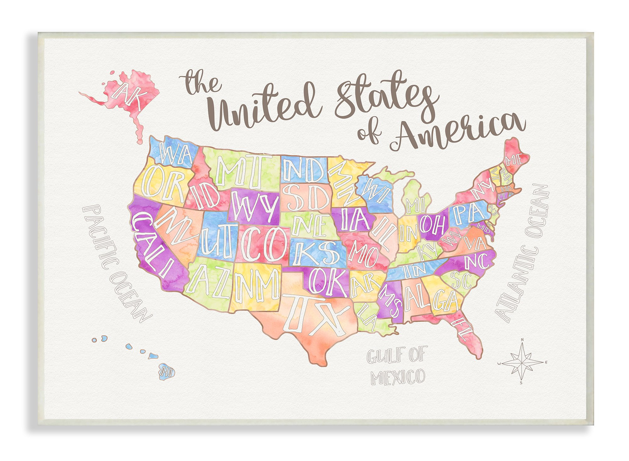 Stupell Home Décor United States US Map Water Color Wall Plaque Art, 10 x 0.5 x 15, Proudly Made in USA