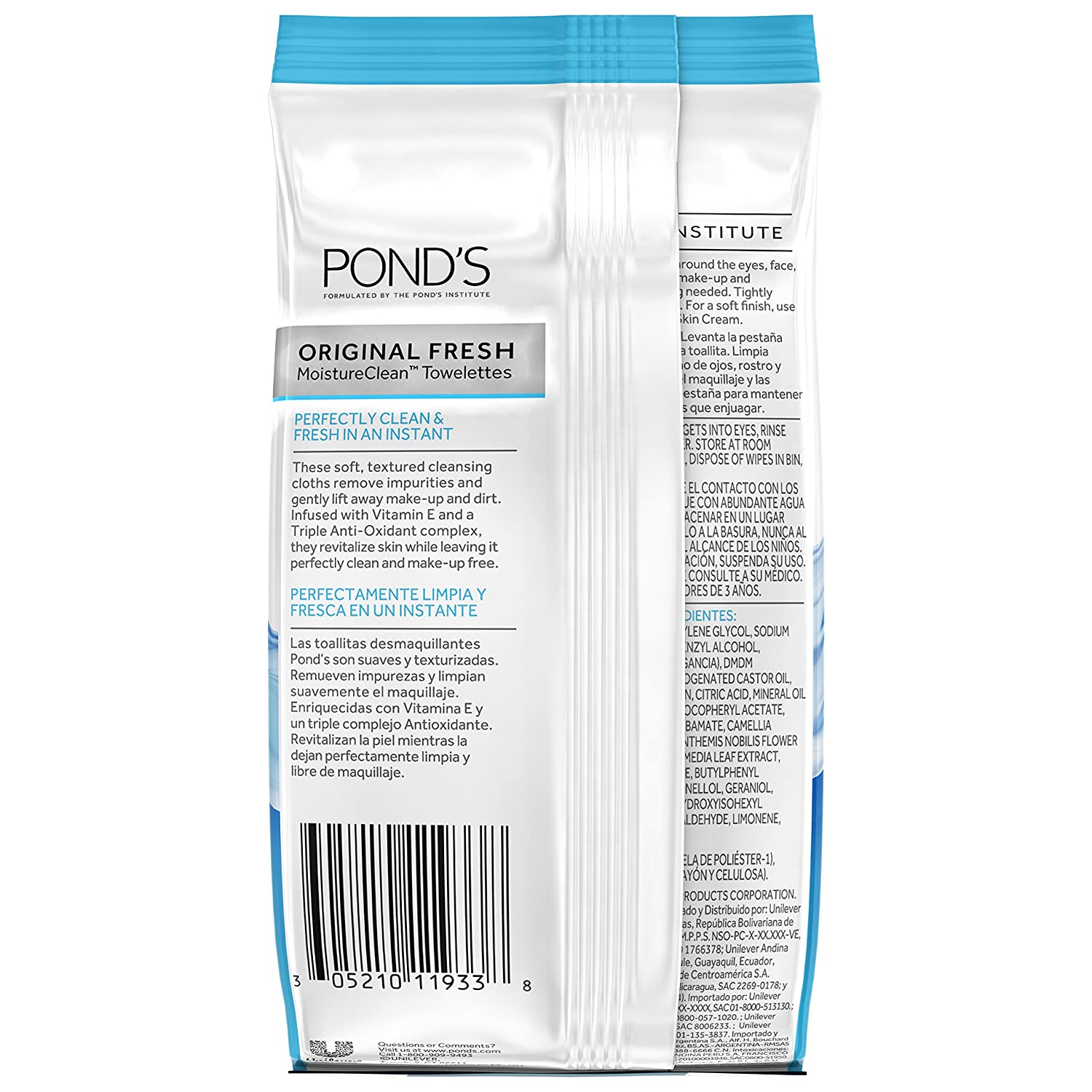 Amazon.com: Ponds MoistureClean Towelettes, Original Fresh Makeup Remover Wipes with Vitamin E 15 ea (Pack of 3): Beauty