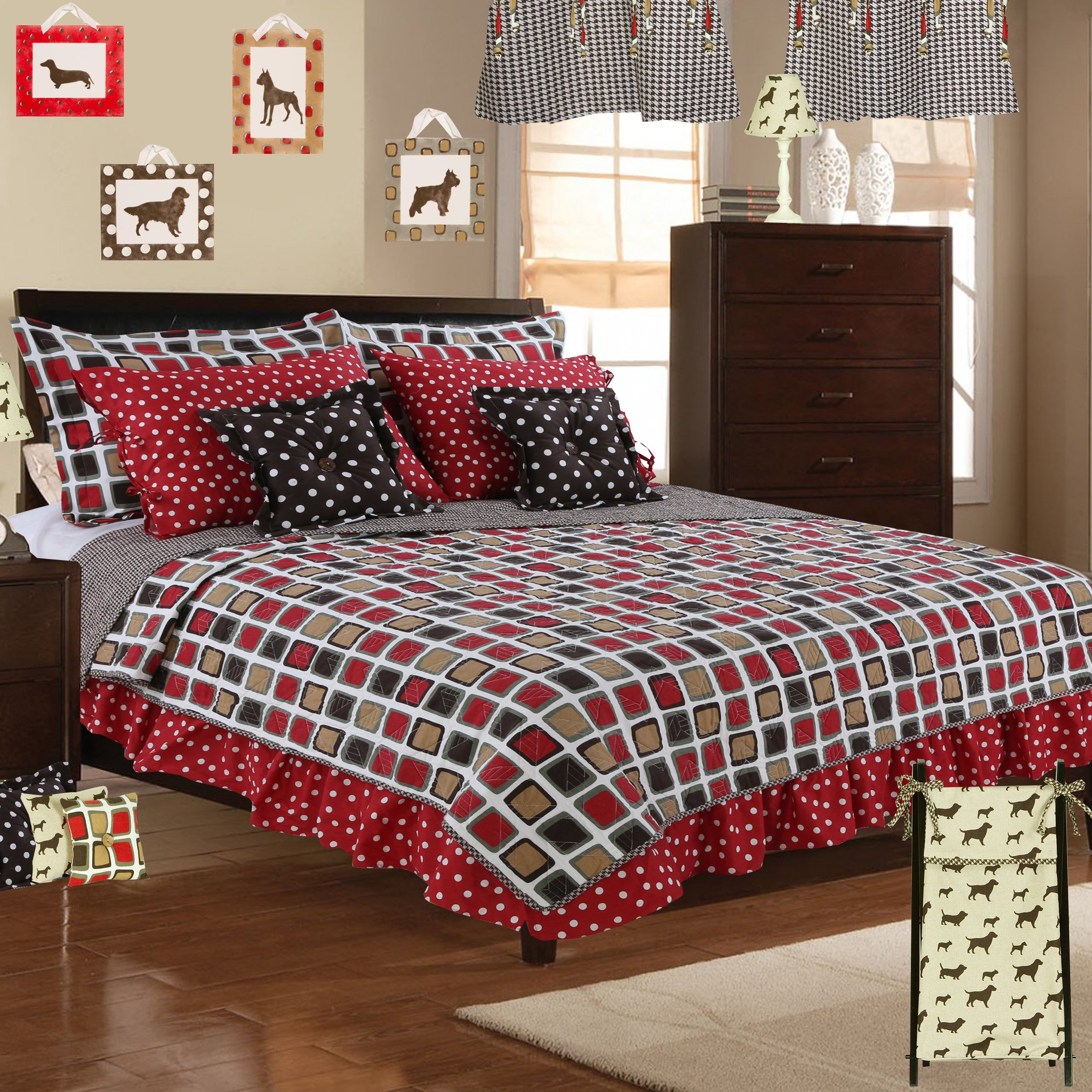Cotton Tale Designs 100% Cotton Houndstooth Red Brown Tan Cream Square Geometric & Houndstooth Twin 5 Piece Reversible Quilt Bedding Set - Unisex Gender Neutral Boy/Girl