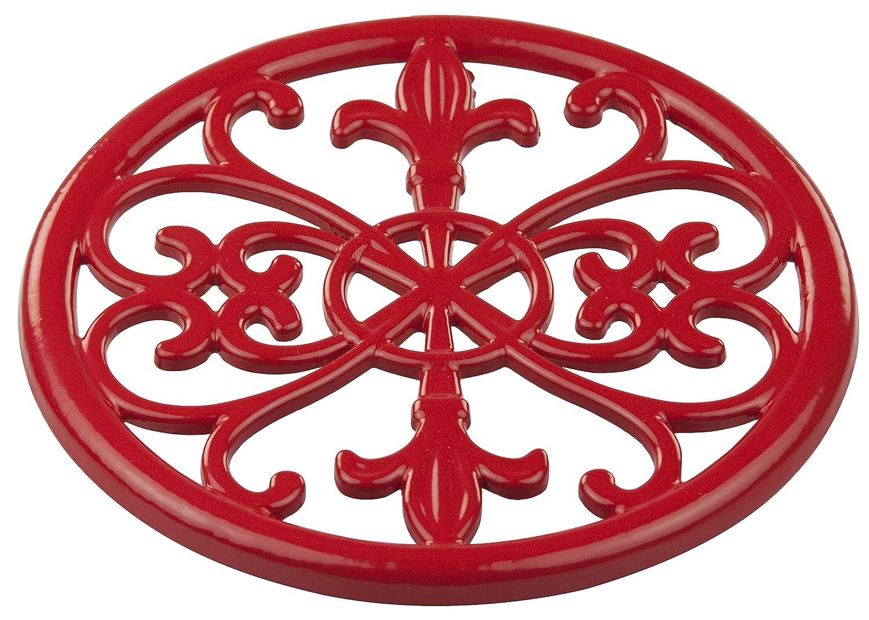 "Home Basics Red) Cast Iron Fleur De Lis Trivet Tr44392 7.9"" x 7.9"" x .62"""
