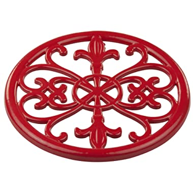 Home Basics Red Cast Iron Fleur De Lis Trivet Tr44392, 7.9  x 7.9  x .62