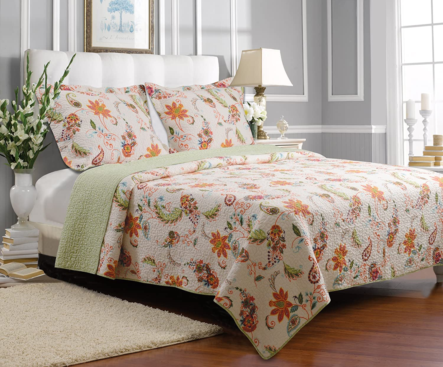 Greenland Home Barcelona 3-Piece Quilt Set, Full/Queen