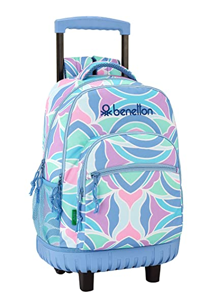 """Benetton """"Arcobaleno"""" Oficial Mochila Escolar Grande Con Ruedas 320x140x460mm"""