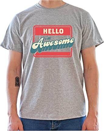 Imagen deDreamGirl Hello I'm Awesome Name Tag Funny Graphics Mens T-Shirt